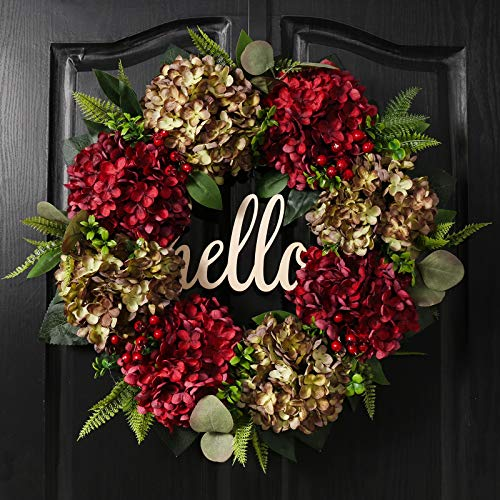 QUNWREATH Handmade Floral 19 inch red Green Hydrangea Series Wreath,Gifts Package,Free Hooks,Spring Wreath,Front Door Rustic Wreath,Fall Wreath,ChristmasWreath,Everyday Wreath,