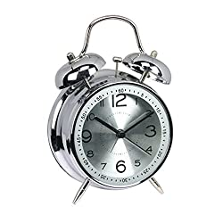 FUNRUI 4 Metal Twin Bell Alarm Clock, Retro Vintage Desk Table Bedside Silent Analog Quartz Alarm Clock for Heavy Sleepers Kids Home Bedrooms Travel School Battery Operated with Light (Silver)