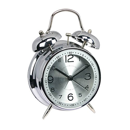 Aleenfoon Reloj despertador de doble campana, de metal, de 4 pulgadas, retro, vintage, para mesita de noche, silencioso, analógico, de cuarzo, para personas que duermen pesadas, para el hogar