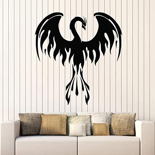 Feuer Phoenix Wandtattoo Fantastische Vogel Gabeln Der Flamme Kunst Tür Fenster Vinyl Aufkleber Schlafzimmer Wohnzimmer Home Decor Wandbild 42 * 44Cm