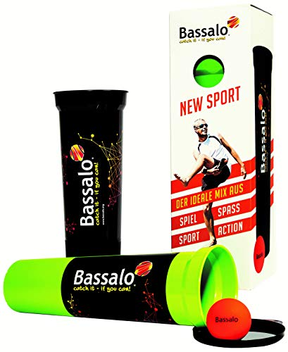 BASSALO Cupball 2er Starter-Set inkl. Box - Sportspiel für Kinder, Jugendliche, Erwachsene – 2 Becher, 1 Spielball, Spielanleitung