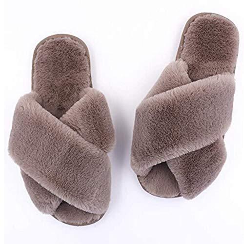 EnShiShiDaNingZiShangMaoYouXianGon Primavera Otoño Mujeres Zapatos de felpa de algodón de fondo plano
