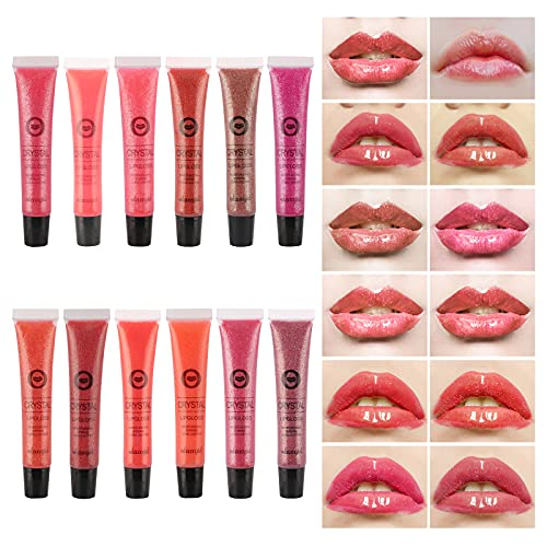 Ofanyia 12 Farben Crystal Lip Gloss Flüssiger Lippenstift Lang anhaltende Feuchtigkeitsspendende Lippenglanz Lippenstift Schimmer Glitter Lip Tint Lipgloss