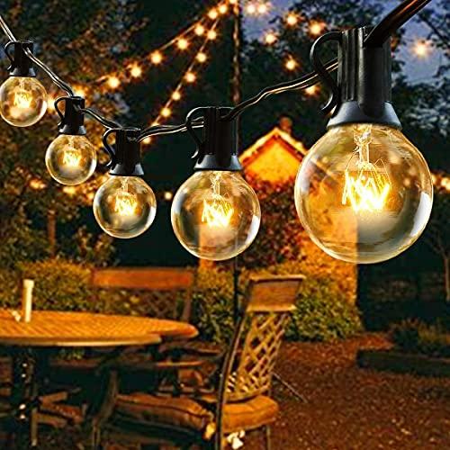 Outdoor Garden String Lights,25ft G40 Patio Outside String Lights,Waterproof Indoor/Outdoor Festoon Lights for Terrace Xmas Wedding Party Decoration (25 Bulbs+3 Spare Bulbs)