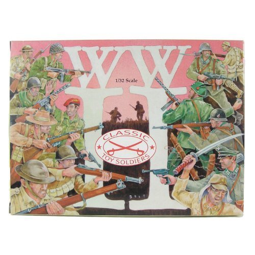 WWII - Free French Soldiers Plastic Army Men: 12 piece set of 54mm Figures - 1:32 Scale