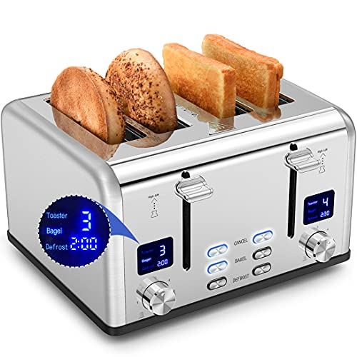 Toaster 4 Slice, 2 LCD Timer Display & Extra-Wide Slot, Real Bagel Function & Stainless Steel Toaster, 4 Slice Toaster & Dual Screen Toasters, Removal Crumb Tray