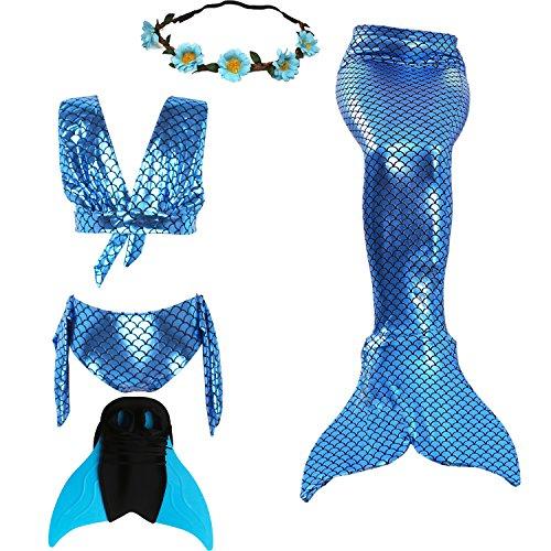 UniDesign Disfrazar Bañador Traje Cola de Sirena para Natación con Bikini y Aleta Monoaleta, 11-12 años, Azul, (Blue Mermaid)