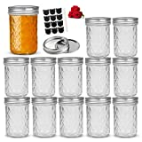 LovoIn 8oz Regular Mouth Mini Mason Jars with Lids and Bands, Glass Canning Jars Ideal for Food Storage, Jam, Body Butters, Jelly, Wedding Favors, Baby Food, Set of 12