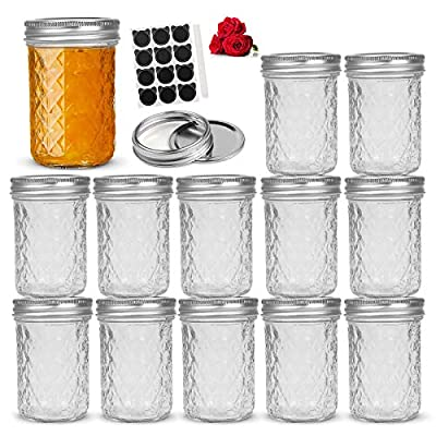 LovoIn 8oz 12Pack Regular Mouth Mason Jars with...