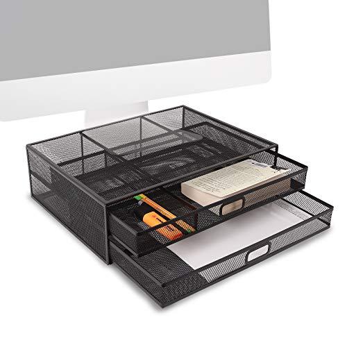 Duronic DM073 Elevador para pantalla, ordenador portátil, televisor con 2 cajones para objetos – 40x30 cm - Soporta hasta 10kg – Soporte ergonómico para trabajar – Metal negro – Espacio organizado