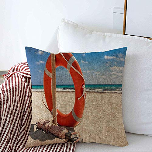 Decoration Linen Decorative Square Throw Pillow Cover Cushion Cover Blue Preserver Float Resort Aid Life Buoy Coast On Beach Nature Orange Guard Swim Safety Belt Line Home Decor for Party 18x18 Inch