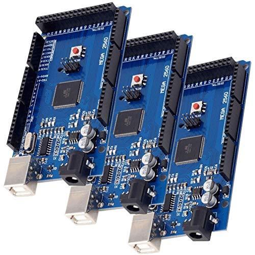 AZDelivery 3 x Mega 2560 R3 Placa con ATmega2560, compatible con Arduino Uno con eBook incluido