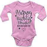 Mikalino Babybody mit Spruch für Jungen Mädchen Unisex Langarm Happy Birthday Mama! Mein Herz gehört Dir! | handbedruckt in Deutschland | Handmade with Love, Farbe:rosa, Grösse:80