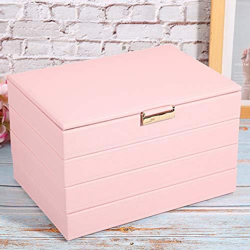 Organizador de pendientes, estuche de almacenamiento de joyería de cuero PU ecológico, organizador de joyero de 4 capas Diseños desmontables para mujeres y niñas Joyería(pink)