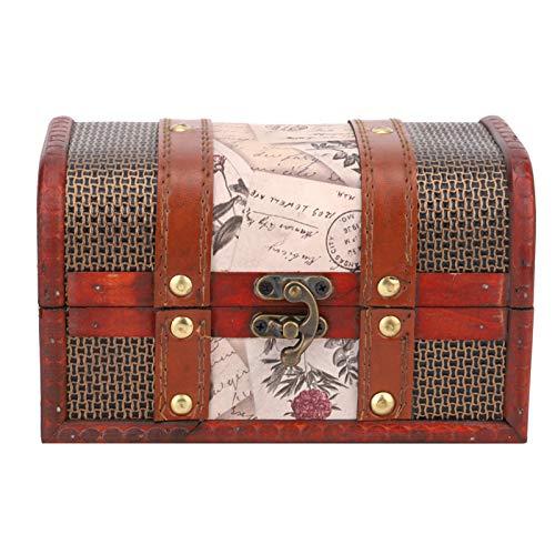 Práctico cofre del tesoro Almacenamiento en miniatura Caja de joyería de madera Caja de joyería retro Abierto flexible para habitación de niños Estudio Dormitorio, etc.con(Stamp trumpet)