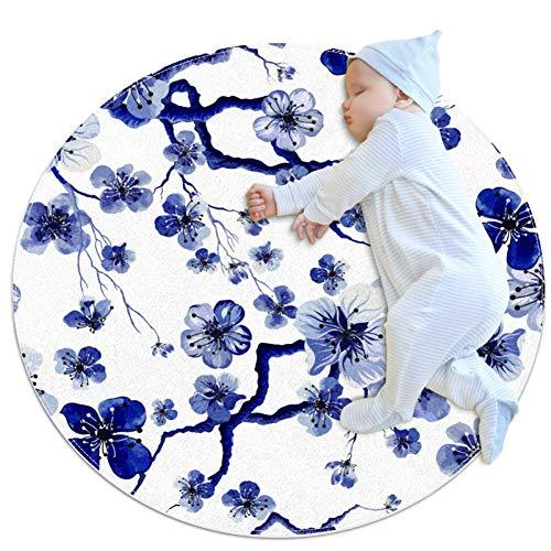 Alfombra infantil infantil con flores de cerezo azul actividad, tapete de suelo suave, lavable, 100 cm
