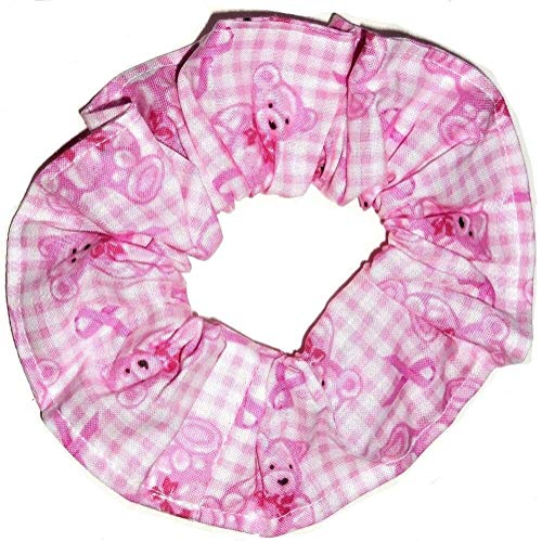 Pink Ribbon Gingham Teddy Bears Hair Scrunchies Breast Cancer Awareness Ponytail Holders made by Scrunchies by Sherry