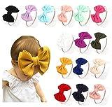 Baby Girl Nylon Headbands Newborn Infant Toddler Bow Hairbands Soft Headwrap Children Hair Accessories (yellow/black/wite - 15pcs)