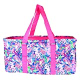 EGFAS All Purpose Open Top 23' Collapsible Extra Large Utility Tote Bag Floral Pattern (Pink)