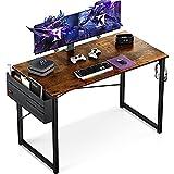 KKL デスク パソコンデスク 収納袋付き 幅120cm×奥行60cm pcデスク ゲーミングデスク 在宅勤務 ワークデスク オフィスデスク 勉強机 学習机 シンプルデスク 収納 組立簡単 モニターアーム取付対応 ビンテージ