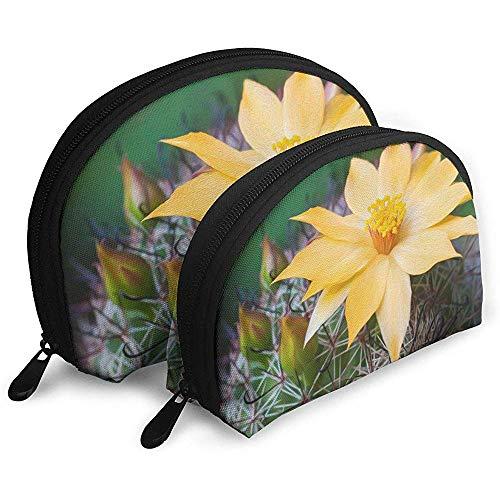 Bolsas portátiles de Flor de Cactus de Arizona Bolsa de Maquillaje Bolsa de Aseo, Bolsas de Viaje portátiles multifunción Pequeña Bolsa de Embrague de Maquillaje con Cremallera