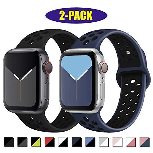 INZAKI Kompatibel mit Apple Watch Armband 38mm 40mm,weich atmungsaktives Silikon Sport Ersatzband für Armband für iWatch Serie 5/4/3/2/1,Nike+,Sport,wasserdicht,M/L,BlackBlack/Blueblack