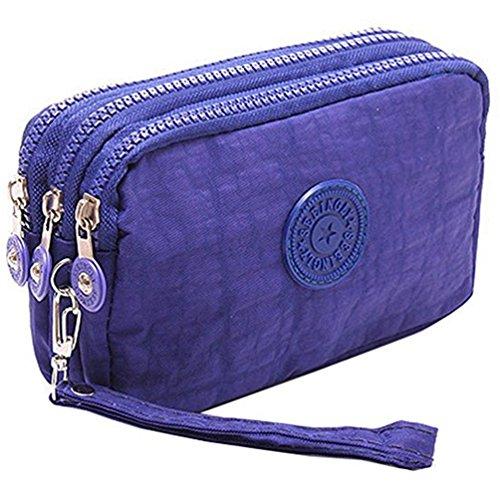 Fueerton - Cartera multifunción de 3 capas con cremallera para llaves, tarjetas, monedas, monedas, monedas, monedero, azul (Azul) - Fueerton