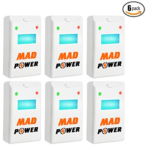 [Upgraded 2018] Pest Repeller - BEST Control 6-Pack with TRIPLE Power [Ultrasonic + Electromagnetic + Nightlight] - Plug-In Electronic Home Repellent Anti Mice, Ant, Roach, Mosquito, Outdoor/Indoor