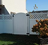 White vinyl arched top garden gate