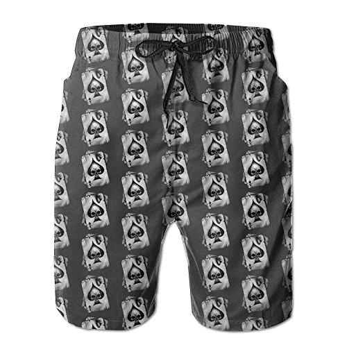 GOSMAO Vintage Poker Naipes Skull Moda Hombre Pantalones Cortos de Playa Tablero...