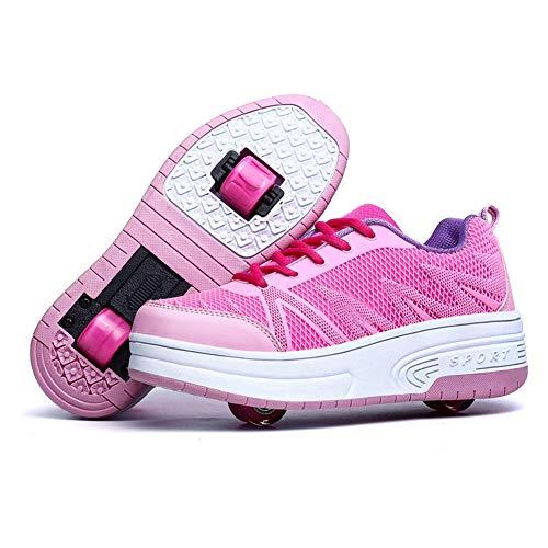 Charmstep Jungen Mädchen Skateboardschuhe Kinder Schuhe mit 1Rollen/2 Rollen Rollschuhe Sportschuhe Turnschuhe Laufschuhe Sneakers mit Rollen,Pink2,36EU