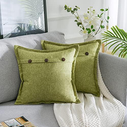 AllmarkHomes Fundas De Cojines Sofa Cojines Decorativos Funda Cojin 45x45 cm Cojines Sofa Para Sofa Con Cojines Fundas Almohadones (Pasto Verde Set De 2)