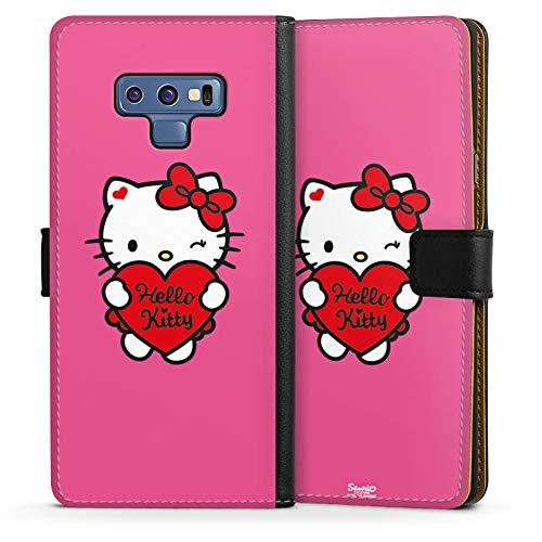 DeinDesign Klapphülle kompatibel mit Samsung Galaxy Note 9 Handyhülle aus Leder schwarz Flip Case Hello Kitty Fanartikel Herz