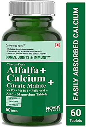 Carbamide Forte Alfalfa Calcium Citrate Malate with Vitamin D3, B12, Mg & Zn - 60 Tablets