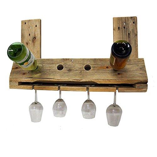 Palettenmöbel Flaschenregal Weinregal Shoot für 4 Flaschen und 4 Gläser aus recycelten Palettenholz - Jedes Stück Ein Unikat aus Echter Handarbeit Made in Germany