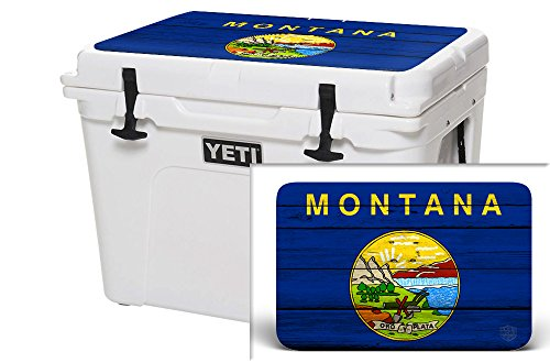 USATuff Wrap (Cooler Not Included) - Lid Kit Fits YETI 50qt Tundra - Protective Custom Vinyl Decal - Montana Flag Wood