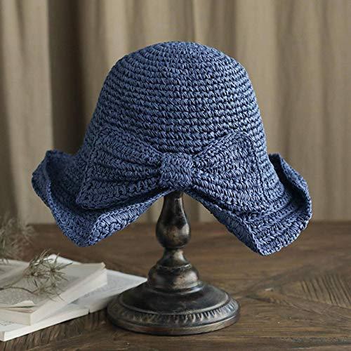 N\C Sombrero de sol para mujer, sombrero de verano, sombrero de paja de ala grande, sombrero de protección solar al aire libre, sombrero de cuenca, sombrero de pescador
