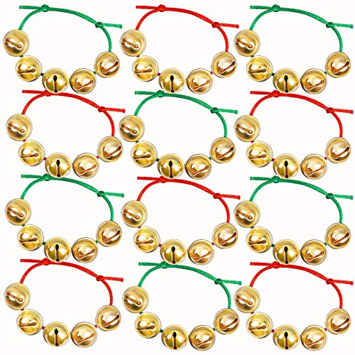 Cooraby 12 Pieces Christmas Bell Bracelets Adjustable Xmas Jingle Bell Wrist Band for Christmas Toys Gift or Stocking Stuffers