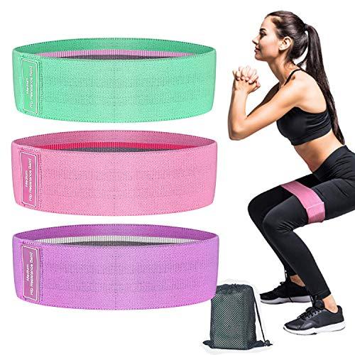 OneChois - Bandas de resistencia, bandas de resistencia para entrenamiento de pesas y glúteos, 3 niveles de resistencia para caderas, glúteos y piernas [juego de 3]