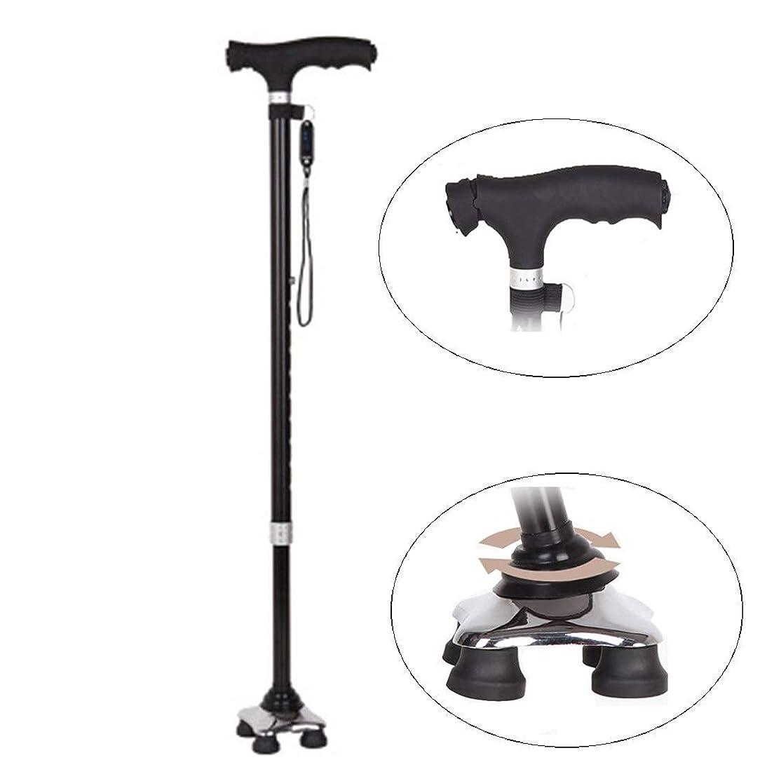 脚完全に内訳Mldeng 杖 4点支持 軽量 ステッキ 伸縮 つえ 10段階調節 自立 多点杖 アルミ製 歩行補助 ストラップ 黒い