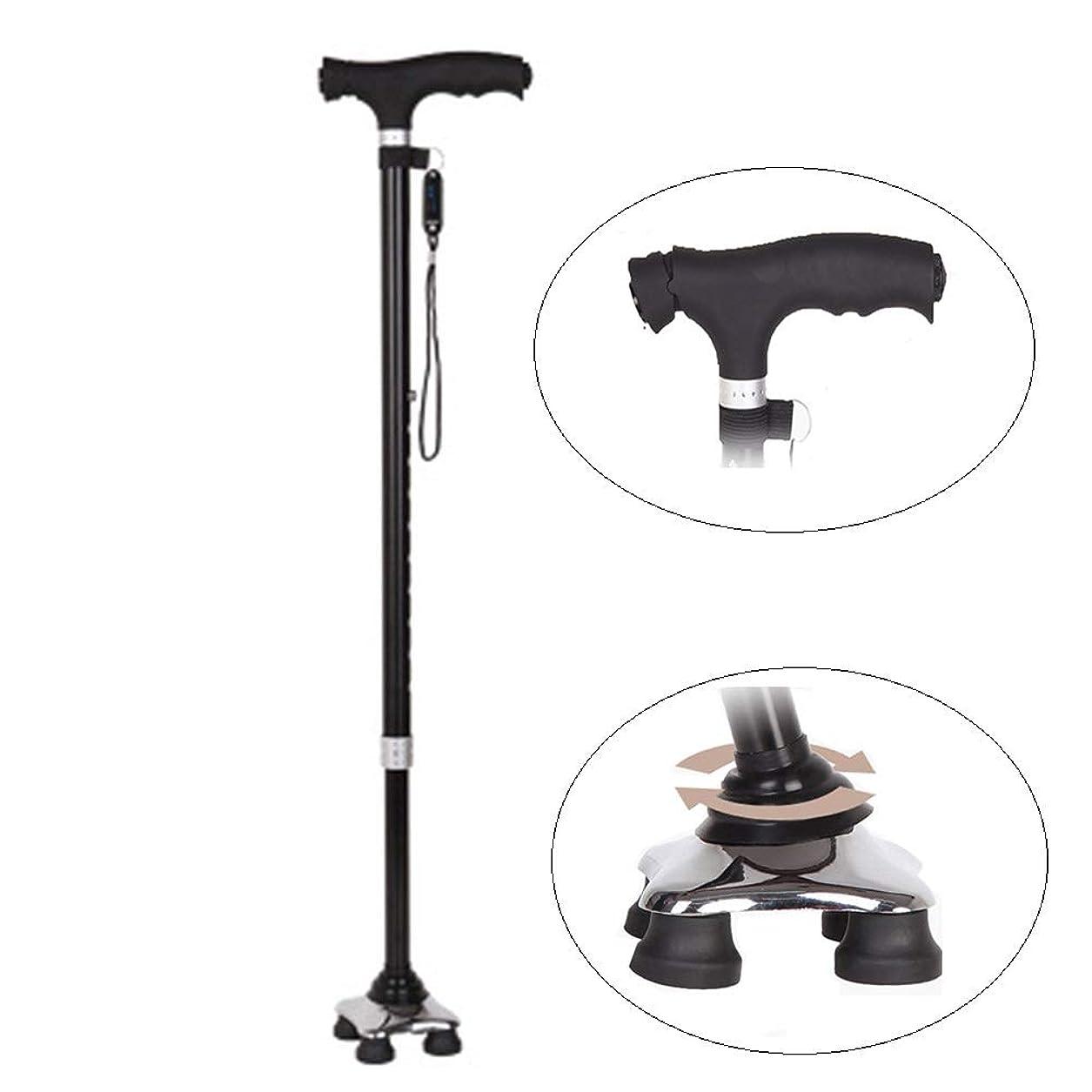 賭けきしむ消毒剤Mldeng 杖 4点支持 軽量 ステッキ 伸縮 つえ 10段階調節 自立 多点杖 アルミ製 歩行補助 ストラップ 黒い
