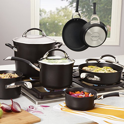 what the black circulon cookware looks like in a contemporary kitchen