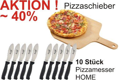 Ein Pizzaschieber und 10 Stück Pizzamesser HOME im Vorteils-Set