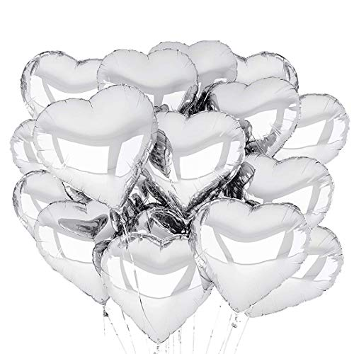 O-Kinee Globos de Papel de Aluminio,30 pcs Globos en Forma de Corazón 18 Pulgadas,Globos de Corazón,Globo de Lámina de Corazón,para Fiesta,Cumpleaños,día de San Valentín,Boda,Compromiso (Plata)
