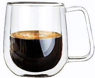Vicloon Cristal Vidrio de Doble Pared, Taza de Cafe Doble 250 ml, Tazas de Café Resistentes al Calor, Doble Pared de Vidrio de Borosilicato Adecuado para Té, Café, Capuchino (Set de 1)