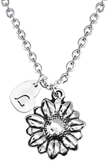 YOUCANDOIT2 Sunflower Garden Flowers Y Necklace Gardener Jewelry Stainless Steel Heart Shaped Initial Letters A-Z