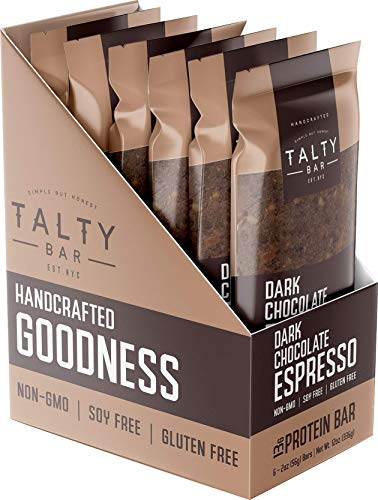 Talty Bar: Dark Chocolate Espresso - Real Food Protein Bars - 6 (2oz) Bars - All-Natural, Kosher, Gluten Free, Soy Free, Non-GMO - No Added Sugars, Sugar Alcohols or Brown Rice Syrup - High Protein