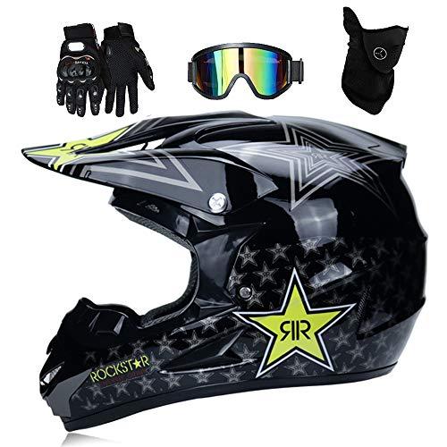LTongx Adulto Motocross Casco MX Moto Casco ATV Scooter ATV Casco D. O. T Certificado Rockstar Gafas Máscara Guantes (S, M, L, XL),L(59~60cm)