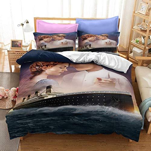 AQEWXBB Juego de ropa de cama de Titanic, 3 piezas, impresión 3D, una funda nórdica de Los fans de la película Mögen (Titanic 10,140 x 210 cm + 50 x 75 cm x 2)