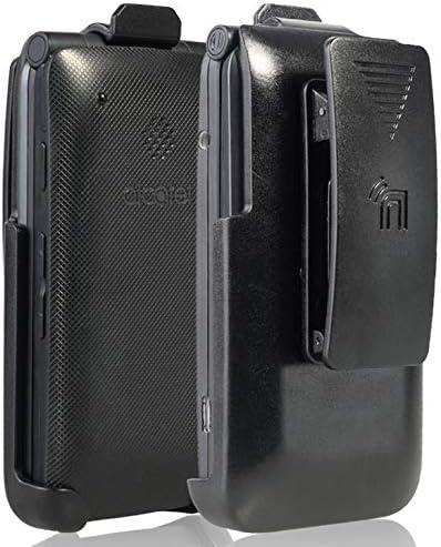 Holster for Go Flip Phone, Nakedcellphone Black [Rotating/Ratchet] Belt Clip Holder Case [with Kickstand] for Alcatel Go Flip V, MyFlip 4G, QuickFlip, Cingular Flip 2, A405DL